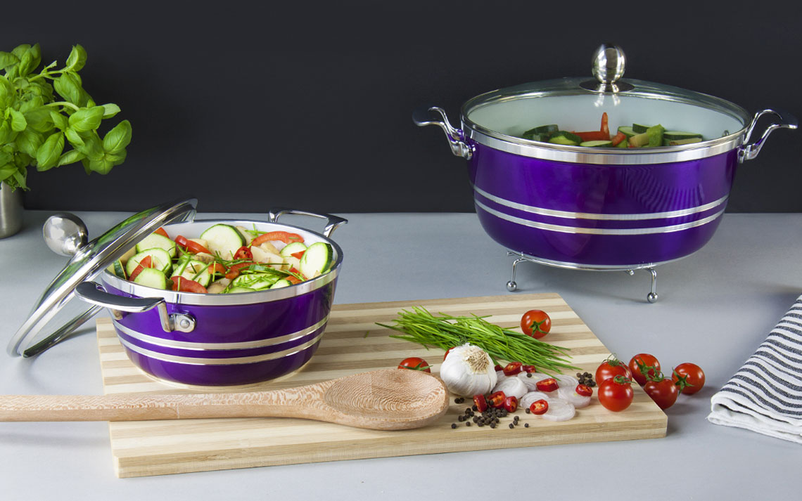 metallic die-cast stockpot 5pc set - 1