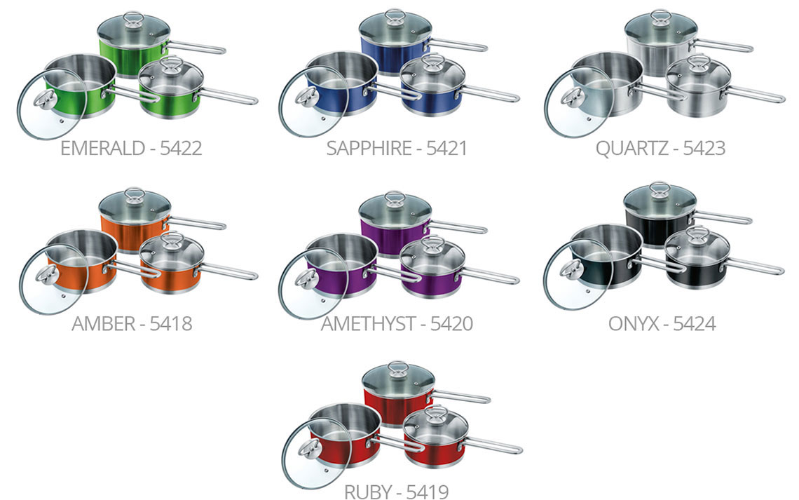 Sq Professional - Gems Metallic Saucepan Sets - Colour Options