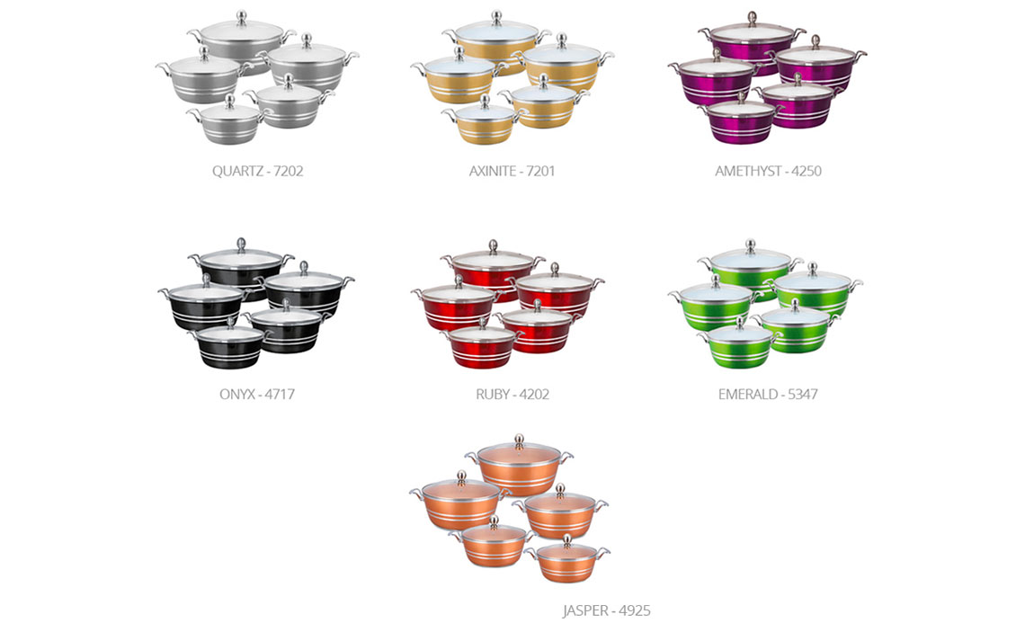 Sq Professional - Metallic Die-Cast 5pc stockpot set - Colour Options